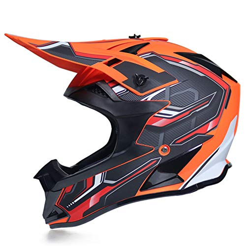 KAAM Casco de motocross para hombre con gafas de protección, guantes, unisex, para todas las estaciones, para motocicleta, DH, Enduro, quad, ATV-MTB-BMX (naranja, M)