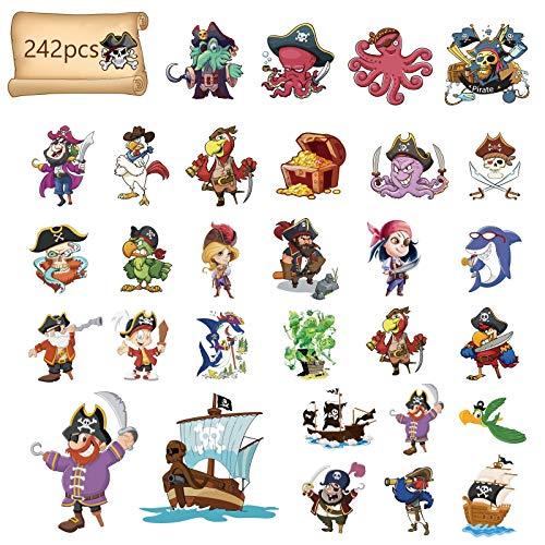 Matogle 242 Tatuaje Temporal para Niños Falso Pirata Pegatinas para Cara Brazo Mano Pegatinas de...*
