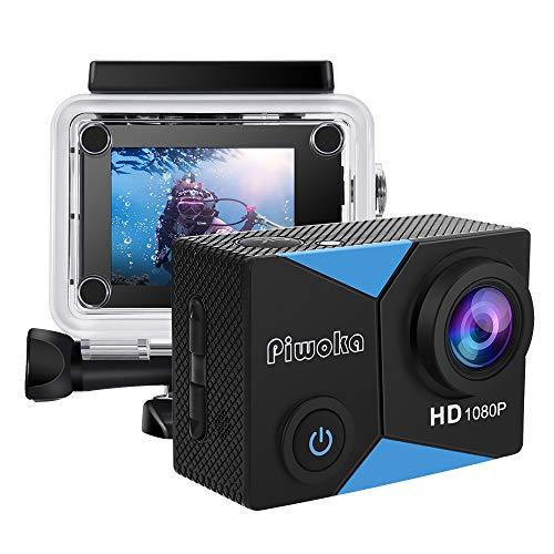 Piwoka Cámara Deportiva HD1080P Impermeable 30M acción cámara submarina Pantalla 2' LCD Gran Angular con Multi Accesorios para Deportes, Buceo, Coche, Moto, Bicicleta etc. (Azule)