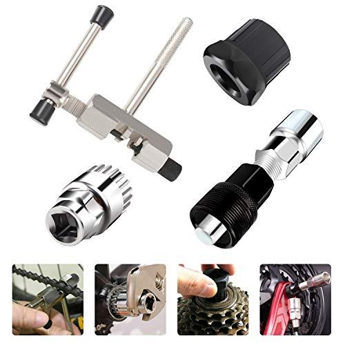 4 Piezas Kit de herramientas de reparación de MTB, Extractor de Manivela de Bicicleta, Interruptor de Cadena de Bicicleta, Herramienta de Extracción de Pedalier de Bicicleta, Removedor de rueda libre