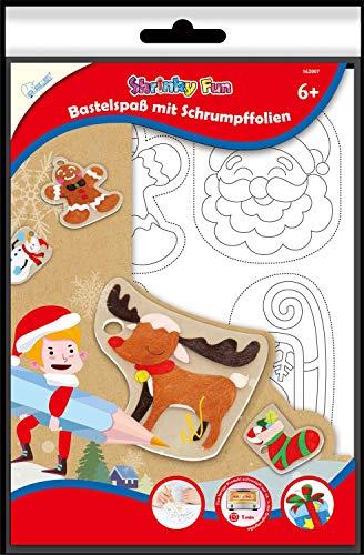 Mammut Spiel & Geschenk 162007 Shrinky Fun Christmas 1 - Juego de manualidades con 4 láminas termorretráctiles DIN A4, 16 plantillas de imagen, instrucciones (idioma español no garantizado)