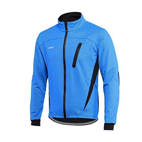 ARSUXEO Chaqueta de Ciclismo para Hombre Impermeable Reflectante Abrigo térmico de Invierno 16H Azul L