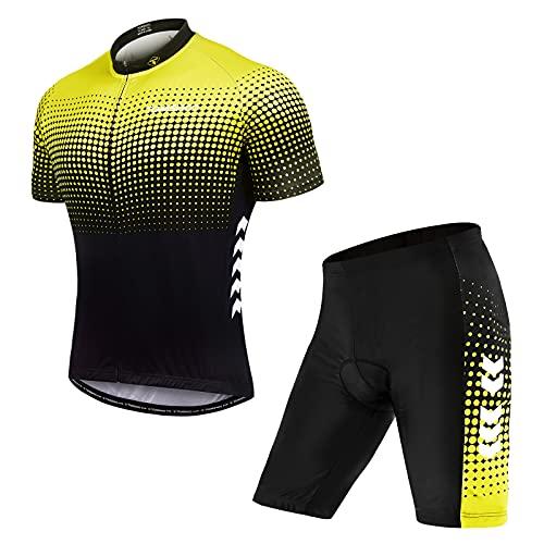 TOM SHOO Ropa de Ciclismo MTB, Maillot Ciclismo Hombre Verano, Jersey Ciclismo Hombre y 4D Gel...*