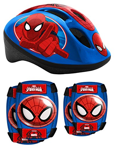 Stamp Combo Spiderman (Helm + Elbow & Knee Pads), Niños, Azul, 5+