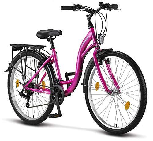 Stella Bicicleta para Mujer, 24 pulgadas, luz de bicicleta, cambio 21 marchas, bicicleta de ciudad para niñas y niñas, Florenz, Amsterdam, Hollandrad, diseño retro, bicicleta infantil