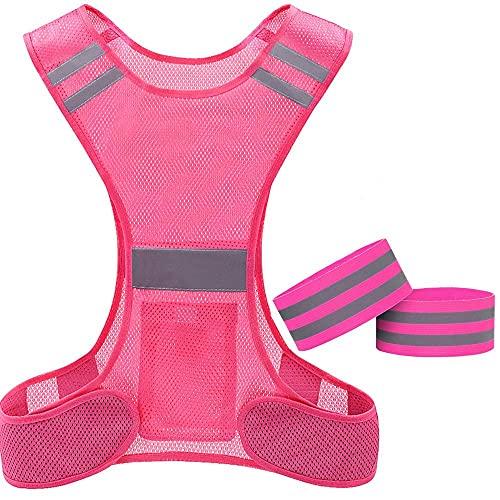 Chaleco de alta visibilidad, chaleco Hi Viz, chaleco reflectante de seguridad con bolsillos para correr bicicleta Ciclismo Caminar. (rosado+2band) (rosado+2bands)