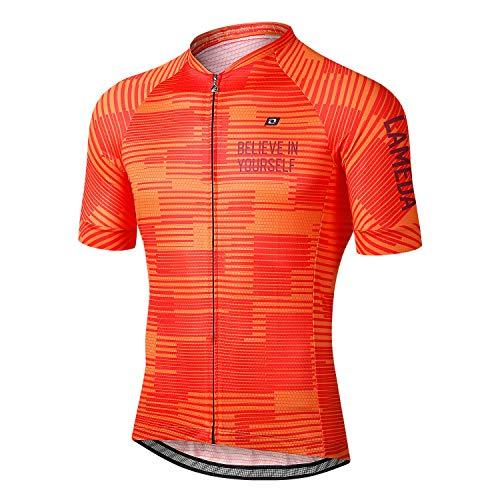 LAMEDA Maillot Ciclismo Hombre Verano Ropa Ciclista Hombre Poliéster 100% Transpirable (Naranja-L*