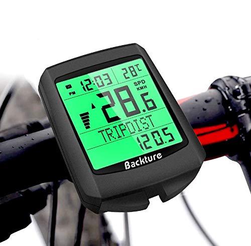 BACKTURE Cuentakilómetros para Bicicleta Impermeable Computadora de Bicicleta 5 Idiomas, Velocímetro Inalámbrico Bicicleta con Pantalla LCD de Retroiluminación para Controlar Velocidad y Distancia
