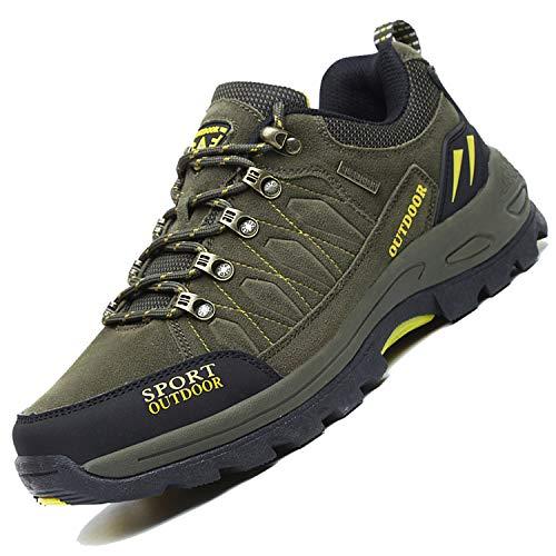 Unitysow Zapatillas de Trekking para Hombres Zapatillas de Senderismo Botas de Montaña Antideslizantes AL Aire Libre Zapatillas de Camping Zapatillas de Deporte EU35-47,Army Green,EU45