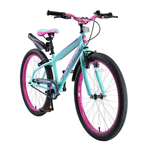 BIKESTAR Bicicleta Infantil para niños y niñas a Partir de 10 años | Bici de montaña 24 Pulgadas con Frenos | 24' Edición Mountainbike Turquesa Berry
