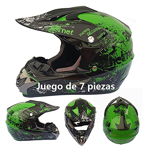 Casco Motocross niño Verde Set de Cascos de Cross con Gafas para Moto Cross Enduro MTB Quad BMX Bicicleta ATV Go-Kart D.O.T Standard Baratos (Juego de 7 Piezas) (L(59-60 CM))