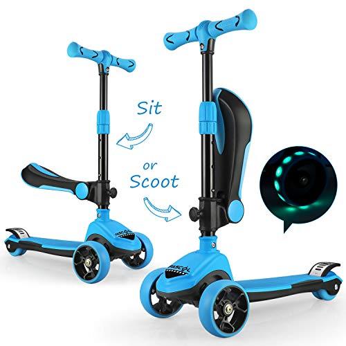 Fascol 2 en 1 Patinete de 3 Ruedas de LED para Niños Scooter Vespa de Asiento Desmontable para 18 Meses - 8 años Niños Patinete de Carga Máxima: 50 kg Carga Máxima del Asiento: 25 kg (Azul Claro)