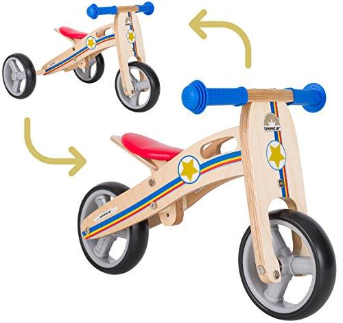 BIKESTAR 2 in 1 Bicicleta sin Pedales Madera para niños y niñas Bici Ajustable 7 Pulgadas  ...*