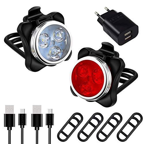 AMANKA Luces Bicicleta Recargable LED, Luz para Bicicleta por USB Conjunto de Luces Delantera y...*