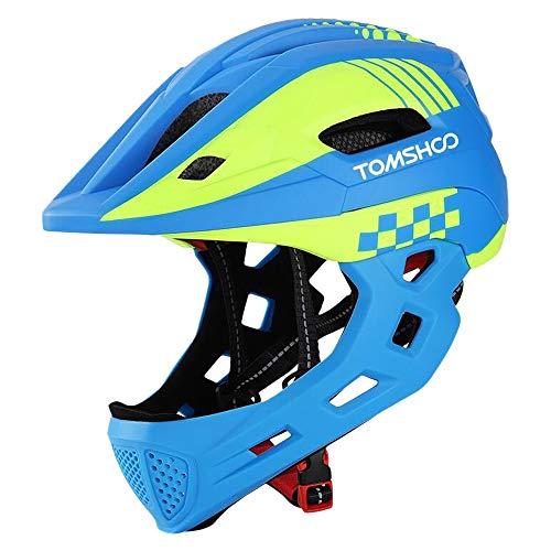 TOMSHOOH Casco Integral de Bicicleta para niños Casco de Patinaje de Seguridad para niños Casco de Patinar Protector de Cabeza Deportiva con luz Trasera y mentón Desmontable-(Azul)