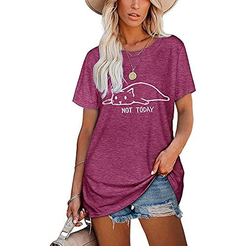 Mayntop Camiseta para mujer de verano con estampado de palabras, para el día de beber, suelta, manga corta, blusa con cuello redondo, F-fucsia, 38