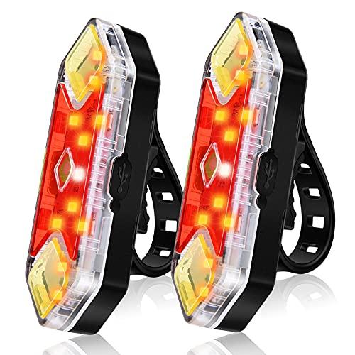 CHYBFU Luz Trasera Bicicleta Recargable USB [2 Paquetes], Luz LED Trasera Bicicleta Potente con 8 Modos de Luz, IPX5 Impermeable Luces Trasera Bici para Máxima Seguridad de Ciclismo
