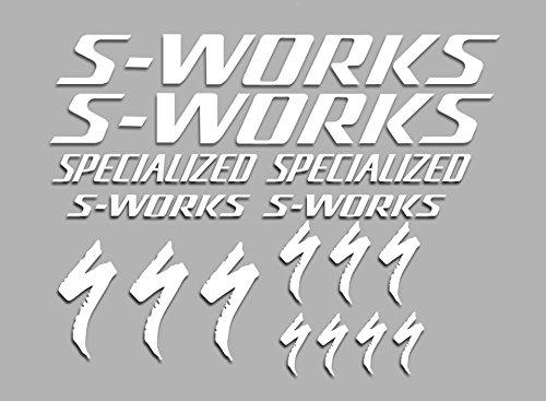 Ecoshirt OX-Q2D0-BLNJ Pegatinas S-Works F38 Bikes Stickers Aufkleber Decals Autocollants Adesivi MTB BTT, Blanco