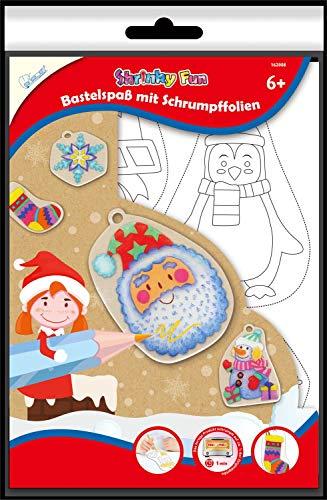 Mammut Spiel & Geschenk 162008 Shrinky Fun Christmas 2 - Juego de manualidades con 4 láminas termorretráctiles DIN A4, 16 plantillas de imagen, instrucciones (idioma español no garantizado)