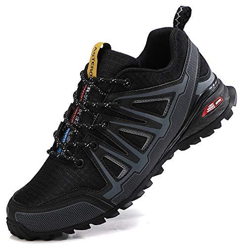 ASTERO Zapatillas Deportes Hombre Running Zapatos Correr Gimnasio Calzado Deportivos Ligero Sneakers Transpirables Montaña Calzado Talla 41-46 (Negro Fresco, Numeric_43)