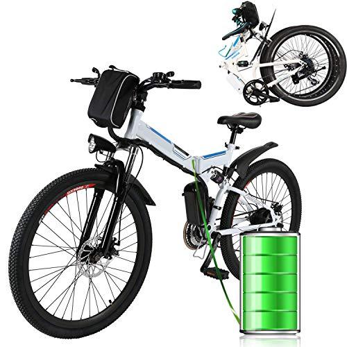 ANCHEER Bicicleta Eléctrica de Montaña Bicicleta Eléctrica de 26 Pulgadas Plegable con Batería de Litio (36V 250W) 21 Velocidades de Suspensión Completa Premium y Equipo Shimano (Blanco Plegable)