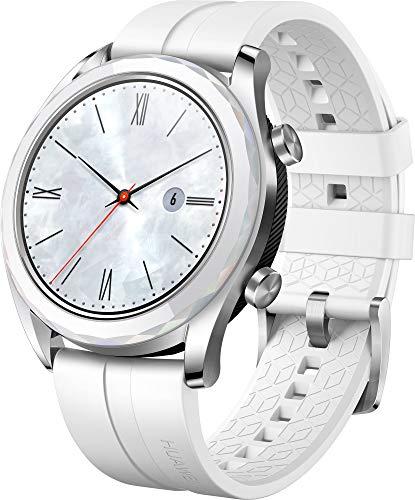 Huawei Watch GT Elegant, Smartwatch con Caja de Metal, Pantalla Táctil AMOLED de 1.2', Monitor de Ritmo Cardíaco y Sueño, GPS, Sumergible 50 M, 42 mm, Blanco
