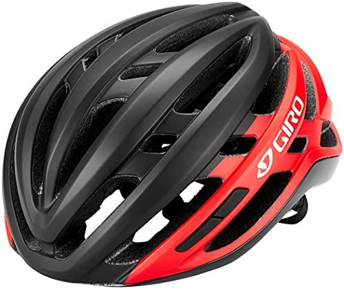 Giro Agilis Casco de Ciclismo Road, Unisex Adulto, Negro Mate y Rojo Brillante, Large (59-63 cm)