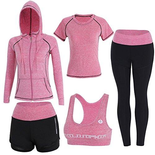 BOTRE 5 Piezas Conjuntos Deportivos para Mujer Chándales Ropa de Correr Yoga Fitness Tenis Suave...*