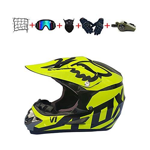 CJBYYBF Casco Motocross Niño, ECE Certificación Casco de moto para niños Downhill.Cascos de Cross de Moto Set con Gafas/Máscara/Red Elástica/Guantes (Amarillo, S:52-53 cm)