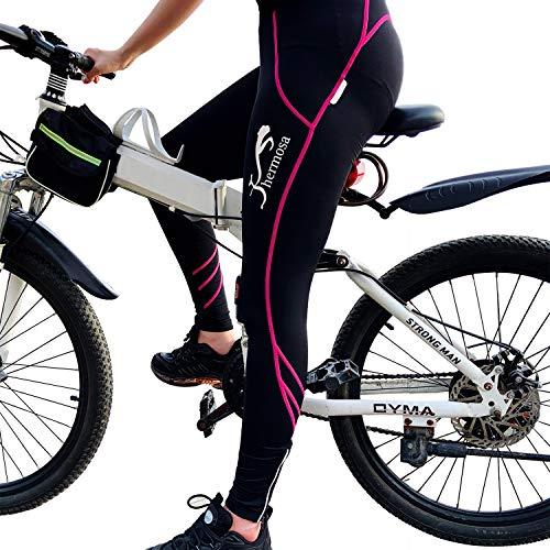 Shermosa Culottes Ciclismo Mujer Largo Culote Bicicleta Pantalon Ciclismo MTB para Mujeres con Badana sin Tirantes Negro-Rosa EU XL