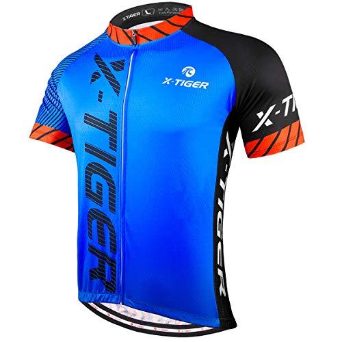 X-TIGER Camisetas de Ciclismo para Hombre, Camiseta Corta, Top de Ciclismo, Jerseys de Ciclismo, Ropa de Ciclismo, Mountain Bike/MTB Shirt (XL, Negro/Azul)