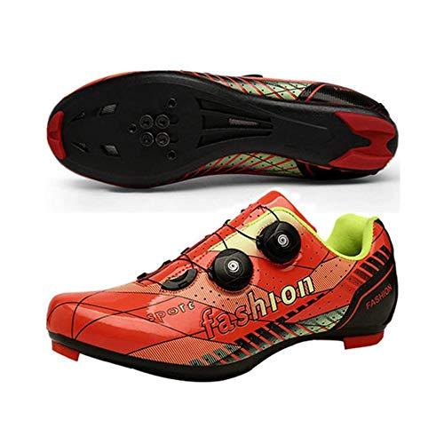 JINFAN Zapatillas De Ciclismo De Carretera para Hombre - Zapatillas De Microtex Premium con Tacos Zapatillas De Spinning SPD para Hombre,Orange-EU47