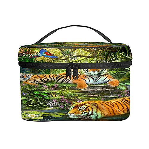 CIKYOWAY Bolsa de Cosméticos,Cascada Atardecer Fauna Naturaleza Tigre Grandes felinos Animales de...*