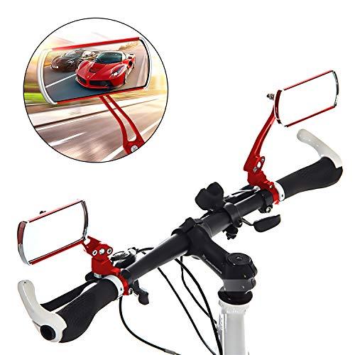 Waflyer 2 Piezas Espejo Retrovisor Bicicleta, 360 ° Giratorio Retrovisor Manillar Bici Lzquierda y Derecha Plegable Espejos para Bicicletas de Montaña, Carretera, Eléctricas Ciclismo Accesorios-Rojo