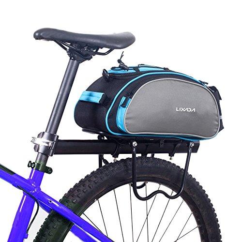 Lixada Bolsa Trasera para Bicicleta Multifuncional Bolsa de Asiento Trasero Bolsa de Hombro para Ciclismo al Aire Libre 13L Azul