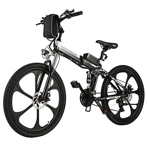 ANCHEER Bicicleta Electrica 36V 8Ah, Bicicleta Eléctrica Plegable de 26 Pulgadas, Motor 250W Batería de Litio Extraíble, Shimano 21 Velocidades (26' Deporte Negro)