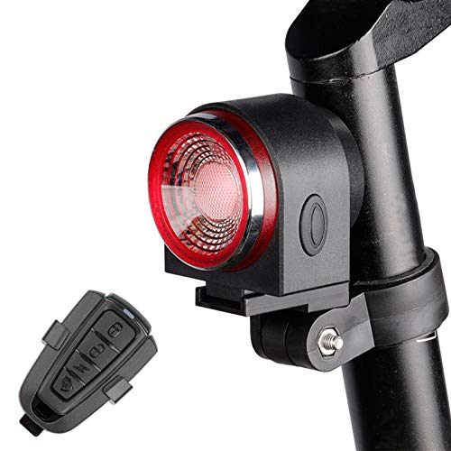 ConBlomi Luz trasera para bicicleta, luces traseras ultrabrillantes con mando a distancia, detección de freno inteligente, alarma antirrobo de bicicleta, luces traseras LED impermeables IPX65