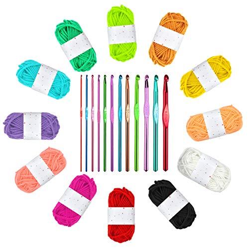 Ledeak 12 Colores Lanas para Tejer Ovillos con Multicolor Ganchillo Crochet Hook Hecho de Aluminio Aguja de Tejer Set Tejido Artesanía Suministros para Principiantes DIY y Tejer a Mano