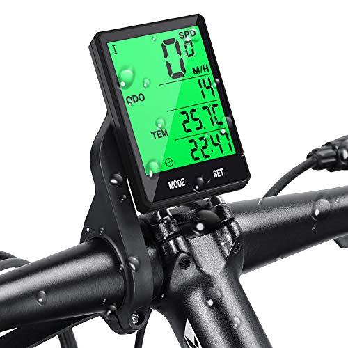 Contador de Bicicleta Inalámbrico, Impermeable, Pantalla LCD Retroiluminada, Multifunción, Contador Kilométrico, Temperatura, Velocidad, Fácil de Montar y Programar con Soporte Prumya