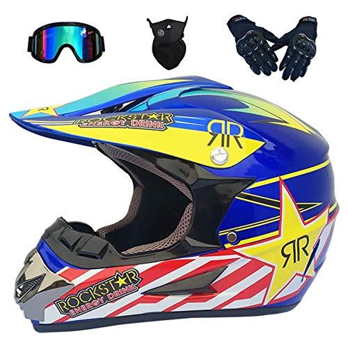 Casco Motocross Niño, Cascos Integrales set Azul/Rockstar con Guantes+Gafas+Máscara, DTC & ECE...*
