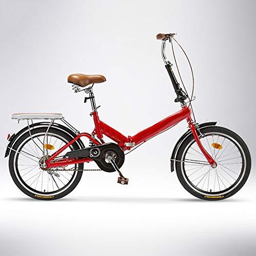 ZHIFENGLIU Bicicleta Plegable, Unisex Pequeña Bicicleta De Velocidad Variable, De 20 Pulgadas Conveniente Scooter Mini De Absorción De Choques,Rojo