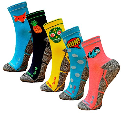 HOOPOE Pack Calcetines Running Mix, 5 Pares, Hombres, Mujer, Divertidos, Foxblue, Skully, Comic,...*
