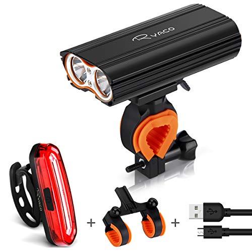 Ryaco Luz Bicicleta Recargable USB, 4 Modos 2400 Lúmenes IP65 Impermeable, Linterna Bicicleta con Luz Bicicleta Delantera y Trasera, Luz LED Bicicleta para Carretera y Montaña