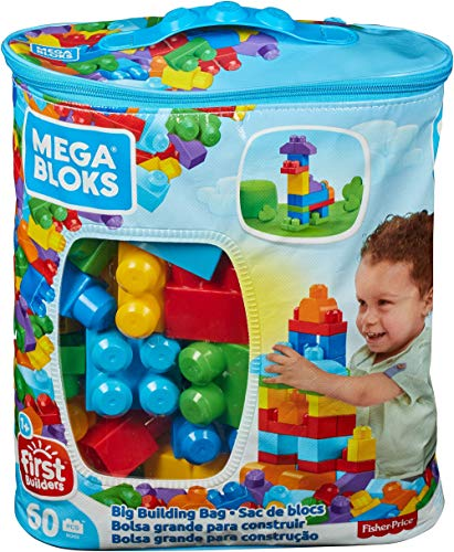 Mega Bloks Bolsa clásica con 60 bloques de construcción, juguetes bebés 1 año (Mattel DCH55)*