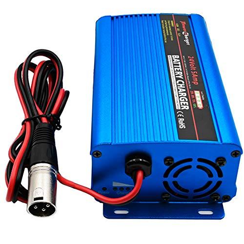Cargador de batería de 24voltios 5 A Cargador Lento, Cargador de batería con Conector XLR de 3...*