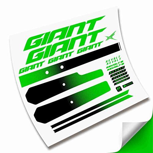Kit Pegatinas Cuadro Completo para Bicicleta Giant Revolt 2020 2021 Gravel (Verde Fluor)