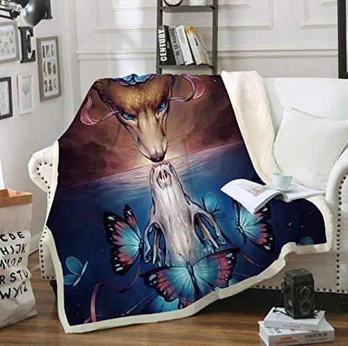 DJSK Ropa de Cama Outlet Fox Reflection Impreso Throw Blanket Colcha para niños Niñas Sherpa Blanket Couch Quilt Cover Manta de Cuatro Estaciones 150 * 200CM