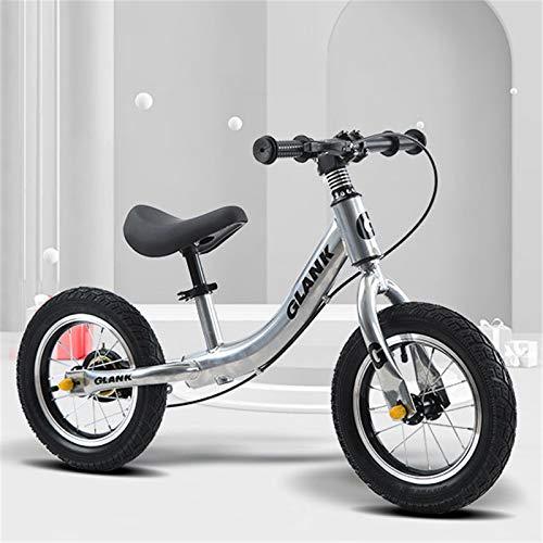 Bicicleta sin Pedales para niños y niñas 2-6 años Bici con Ruedas de 12,Silver-White,12