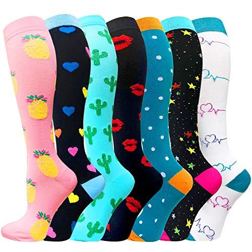 ACTINPUT 7 Pares Calcetines de compresión para Mujeres y Hombres 20-25 mmHg es el Mejor atlético,...*