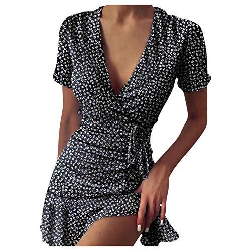 YANFANG Vestido Verano,Vestido con Cordones Cuello En V Y Estampado Floral Sexy para Mujer,Vestidos Verano Cortos Casuales,Negro,Rojo,Azul,S,M,L,XL,XXL
